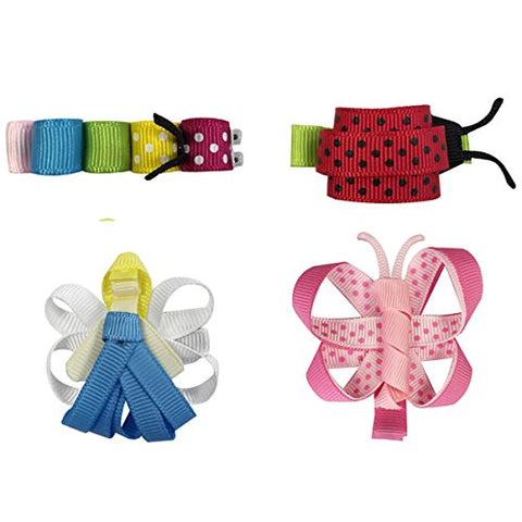 Wrapables Angel, Butterfly, Ladybug, Caterpillar Ribbon Sculpture Hair Clips Set