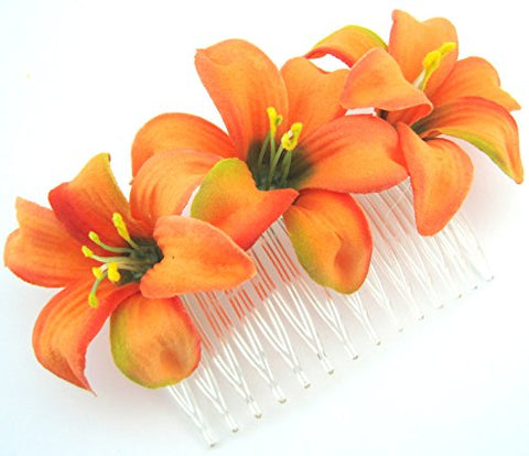 Triple 2  Tropical Orange Lily Silk Flower Hair Comb