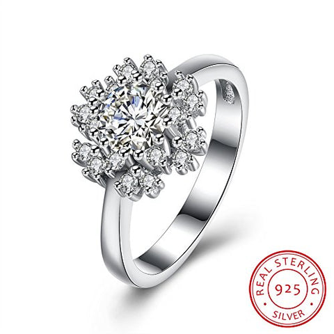 BALANSOHO 925 Sterling Silver CZ Snowflake Flower Engagement Ring Women Wedding Bands Size 8