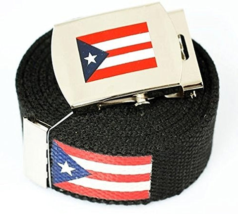 Puerto Rico Flag  Canvas Military Black Web Belt & Buckle 60 Inch