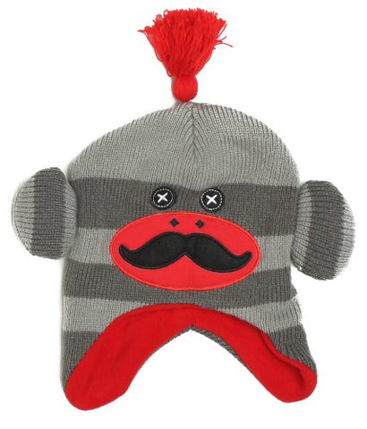 ABG Critter Monkey Socks Scandinavian Beanie Hat, Boys 3+