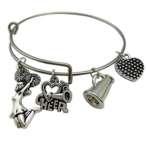 Stainless Steel Adjustable Wire Bangle Love To Cheer Charm Cheerleader Bracelet Girls Jewelry