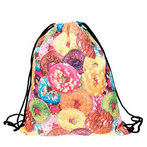 BESSKY Fashion Unisex Donut Printing Gym Sack Bag Drawstring Backpack Sport Bag