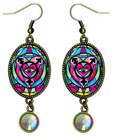Transgender Symbol Antique Bronze Gold Iridescent Rhinestone Long 2 1/2  Dangling Earrings