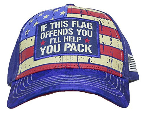 If This Flag Offends You, I'll Help You Pack Patriotic Baseball Cap Hat