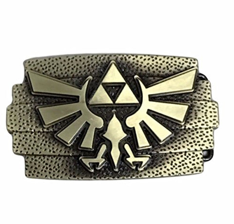 Zelda Tri Force Goldtone Logo Metal Enamel Belt Buckle