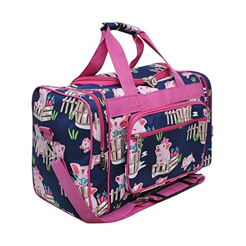 Happy Pig Town Print NGIL Canvas Carry on 17  Duffle Bag