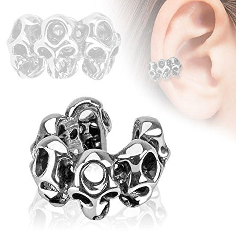 Skull Design Rhodium Plated Brass Non Piercing Ear Cuff
