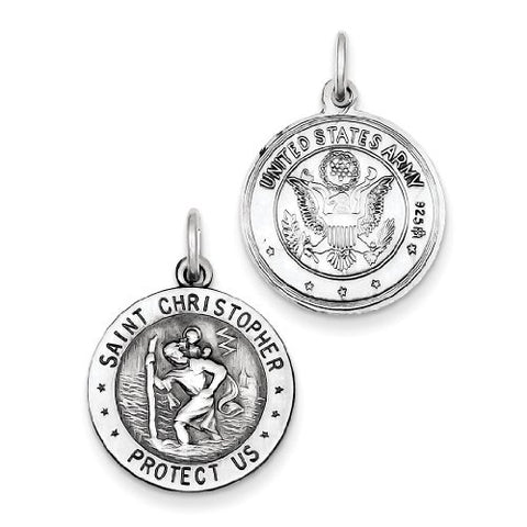 Sterling Silver St. Christopher US Army Medal
