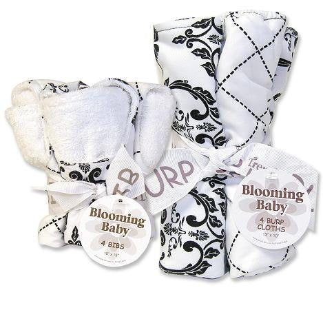 Trend Lab Bibs and Burp Cloths Bouquet Set - Versailles Black and