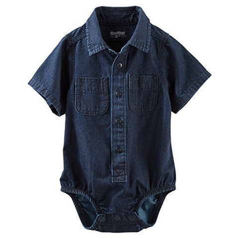 OshKosh B'gosh Baby Boys' 2-Pocket Denim Bodysuit - 9 Months