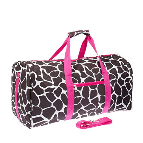 Giraffe Print 22  Luggage Duffle Bag (Black/White/Pink)