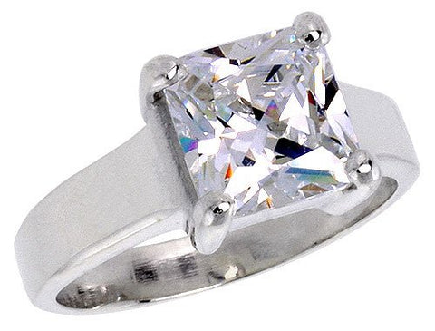 Sterling Silver 3 Carat size Princess Cut Cubic Zirconia Solitaire Bridal Ring (Available in Sizes 6 to 10) size 7