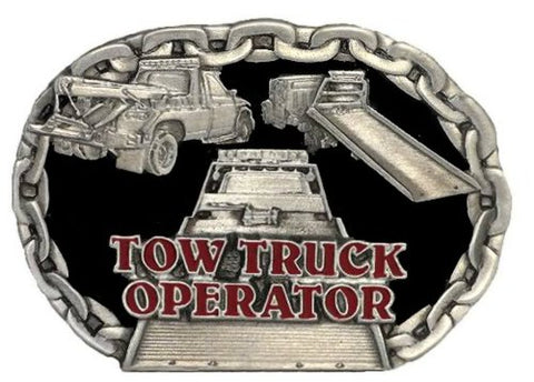 TOW TRUCK OPERATOR PEWTER BELT BUCKLE MADE IN USA BY C&J