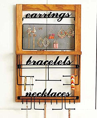 Deluxe Hanging Wood Jewelry Organizer