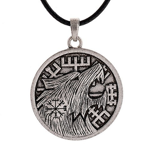 Wolf Head Pendant Necklace Wolf on Vegvsir Runic Compass Rune Necklace