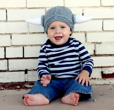 Milk protein cotton yarn handmade viking hat - fits 3-8 year old toddler