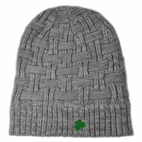 Acrylic Basket Weave Beanie Hat Grey Colour With Green Embroidered Shamrock