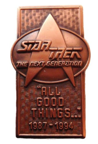 Star Trek TNG Bronze Commemorative PIN ALL GOOD THINGS!