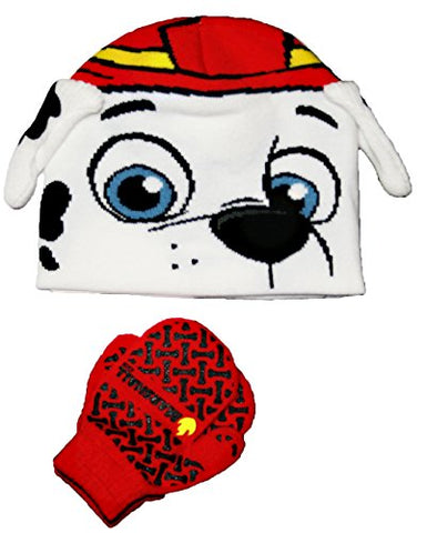 Paw Patrol Little Boys Toddler Marshall Winter Beanie Hat & Mitten Set