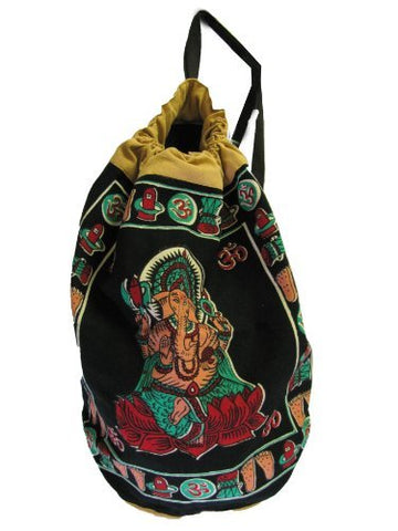 Bohemian Ganesh Om Hindu Block Print Sling Bag Backpack Rugged Cinch 20