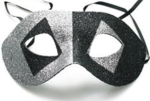 Venetian Fancy Party Mask SILVER BLACK Masquerade Ball Mardi Gras Halloween