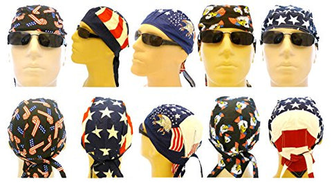 American Flag Doo Rag Patriotic Headwrap Skull Caps Eagle Stars and Stripes