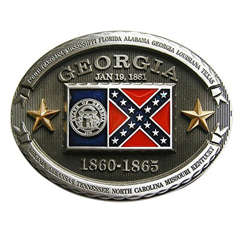 New Vintage Georgia Flag Oval Belt Buckle Gurtelschnalle