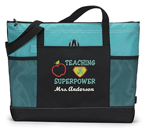Teaching is My Superpower Personalized Tote Bag with Mesh Side Pockets