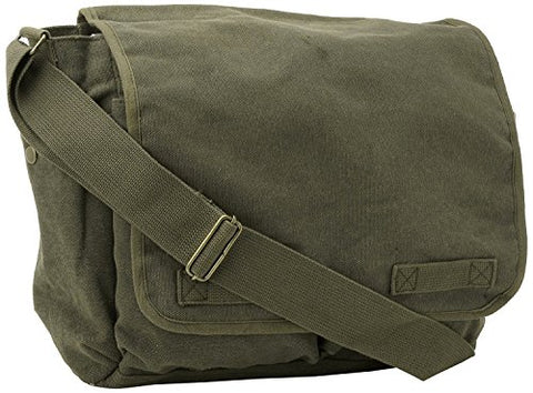 Classic Original Canvas Army Military Messenger Bag Olive by Army Universe