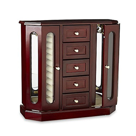 Mirrored Jewelry Box Armoire Upright Storage Organizer Brown Glass Cabinet