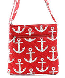 Nautical Anchor Print Quilted Canvas Messenger Bag Red