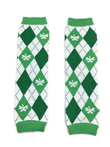 KWC - White & Kelly Green Argyle Shamrock Baby Leg Warmer (St Patrick's Day)