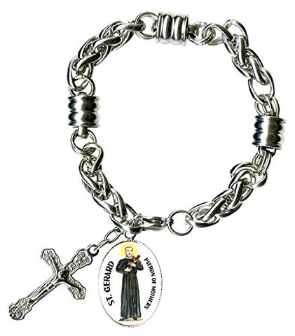 St Gerard for Motherhood Charm & Cross Stainless Steel 7  to 8  Bracelet