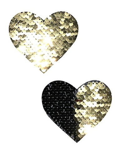 Gold and Black Reversible Sequin Heart Rave Pasties