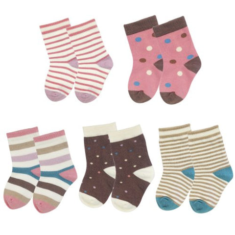 Wrapables Dots and Stripes Toddler Socks (Set of 5)