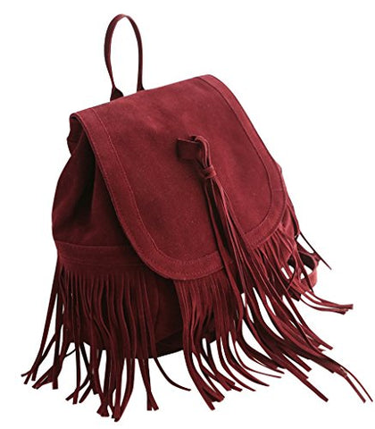 Remeehi Women Faux Suede Tassel Backpack Red