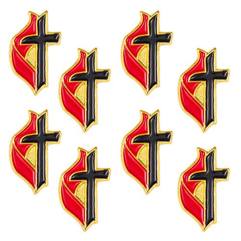 United Methodist Cross & Flame Lapel Pins, Gold Set of 8 UMC
