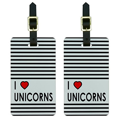 I Love Heart Unicorns Luggage Tags Suitcase Carry-On ID Set of 2