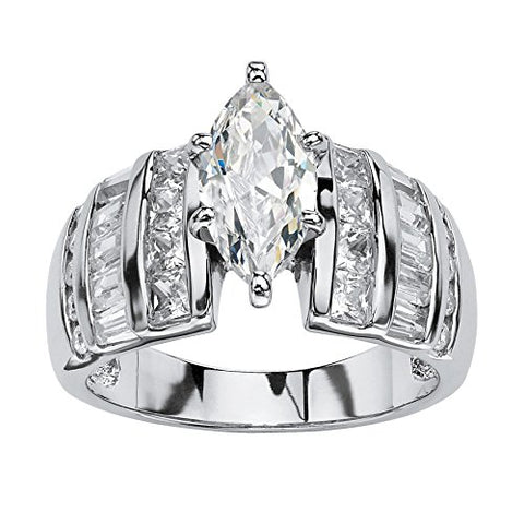 Marquise-Cut White Cubic Zirconia Platinum over .925 Sterling Silver Engagement Ring