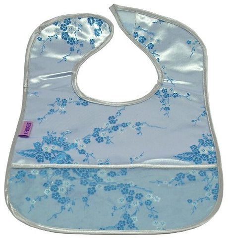 Set of 2 Brocade Baby Bibs in Silver with Skyblue Cherry Blossoms Pattern