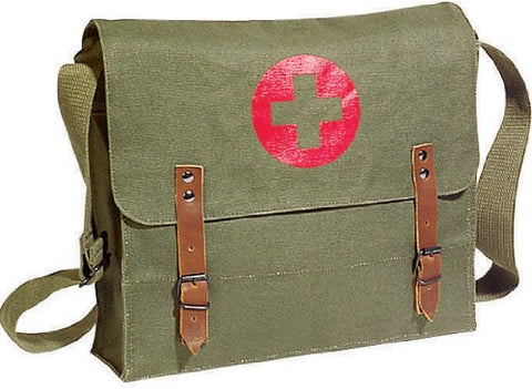 Vintage Shoulder Medic Bag (Olive Drab NATO Red Cross)