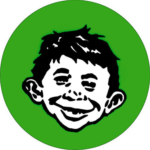 Alfred E. Neuman - Smiling White Face on Green (MAD Magazine) - 1 1/4  Button / Pin