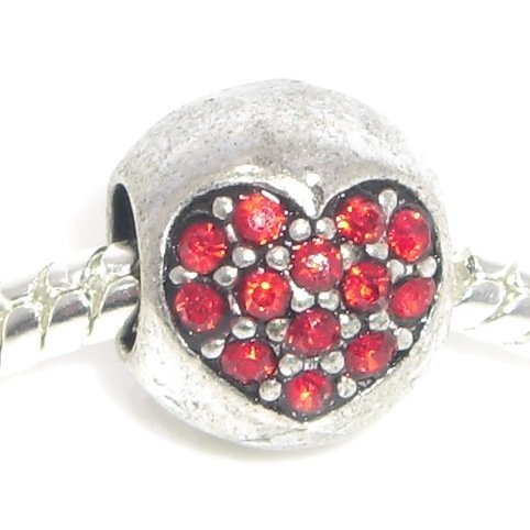 1f9cd7e51 Jewelry Monster Antique Finish Ruby Red Crystal Rhinestone Heart July  Birthstone Ball Charm Bead for Snake