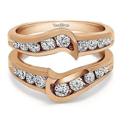 Knott Style Chevron Ring Guard with 1 carats of Cubic Zirconia in Rose Gold Plated Sterling Silver
