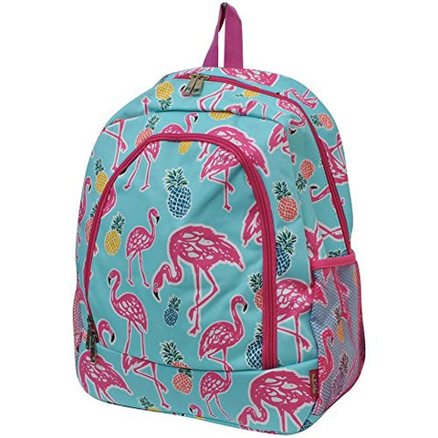 Tropical Flamingo Print NGIL Canvas School Backpack