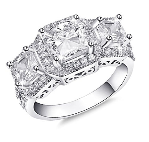 De Lelu Sterling Silver Cubic Zirconia Women's Three Stone Princess Cut with Round Accents Wedding Ring, Size 6
