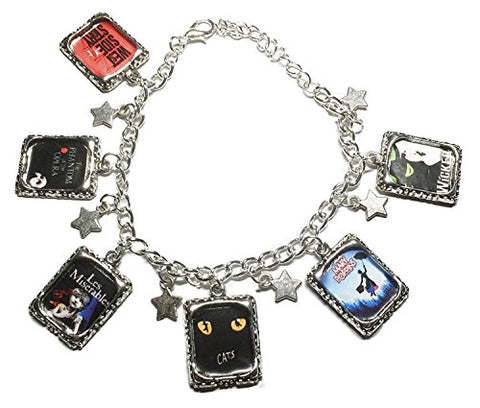 Classic Broadway Musicals 6-Charm Silvertone Metal Charm Bracelet