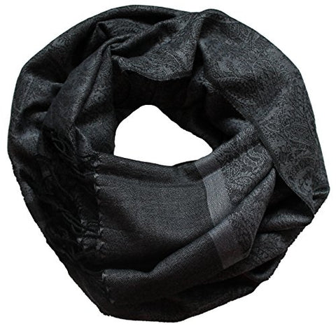 Winter Best Seller  Men Women Fashion Paisley Scarf Pashmina Silk Clothing Accessory, GRAY BLACK