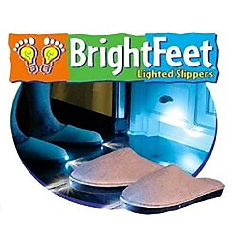 Bright Feet Lighted Slippers- Adult- Beige (Small)